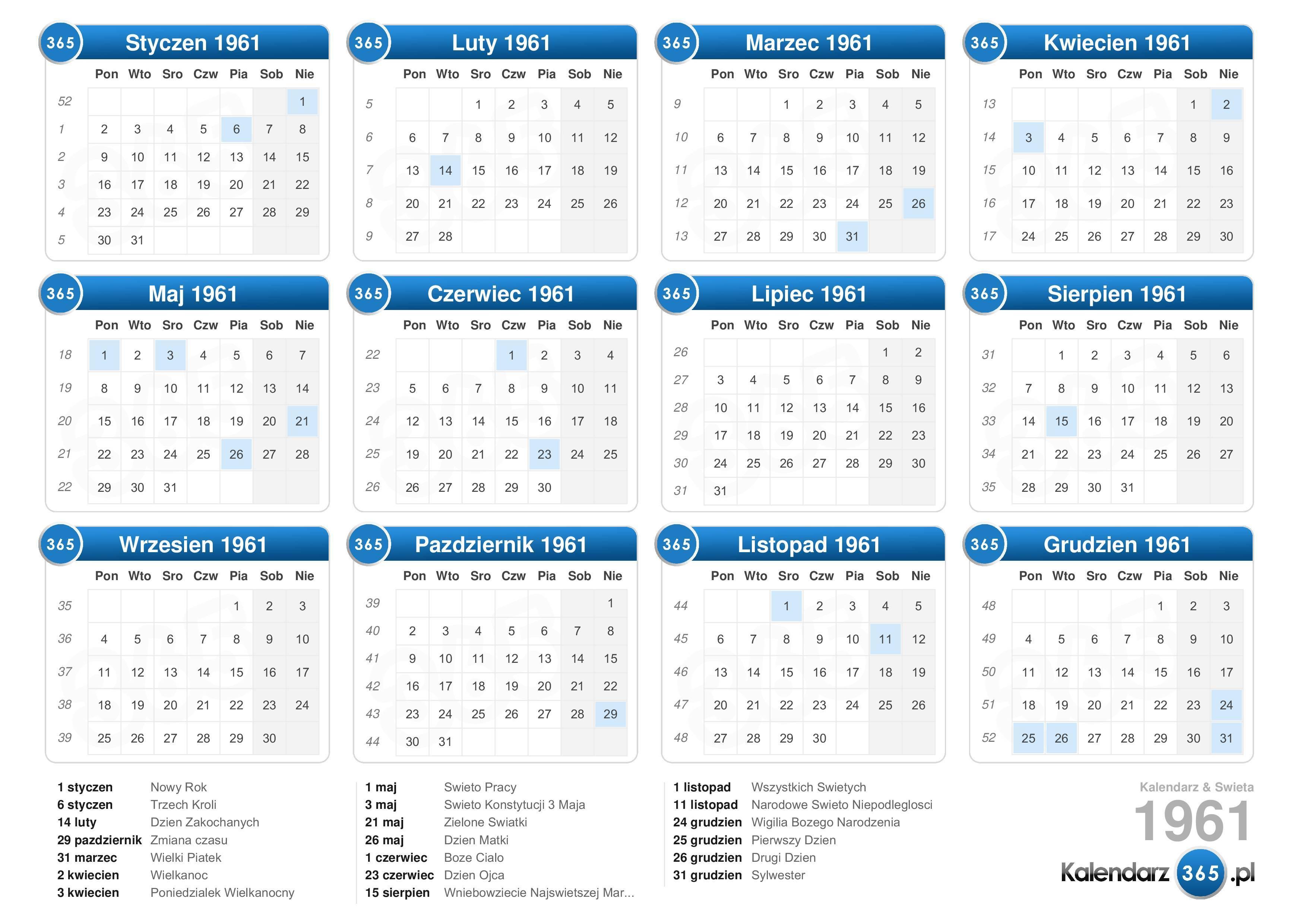 Kalendarz 1961