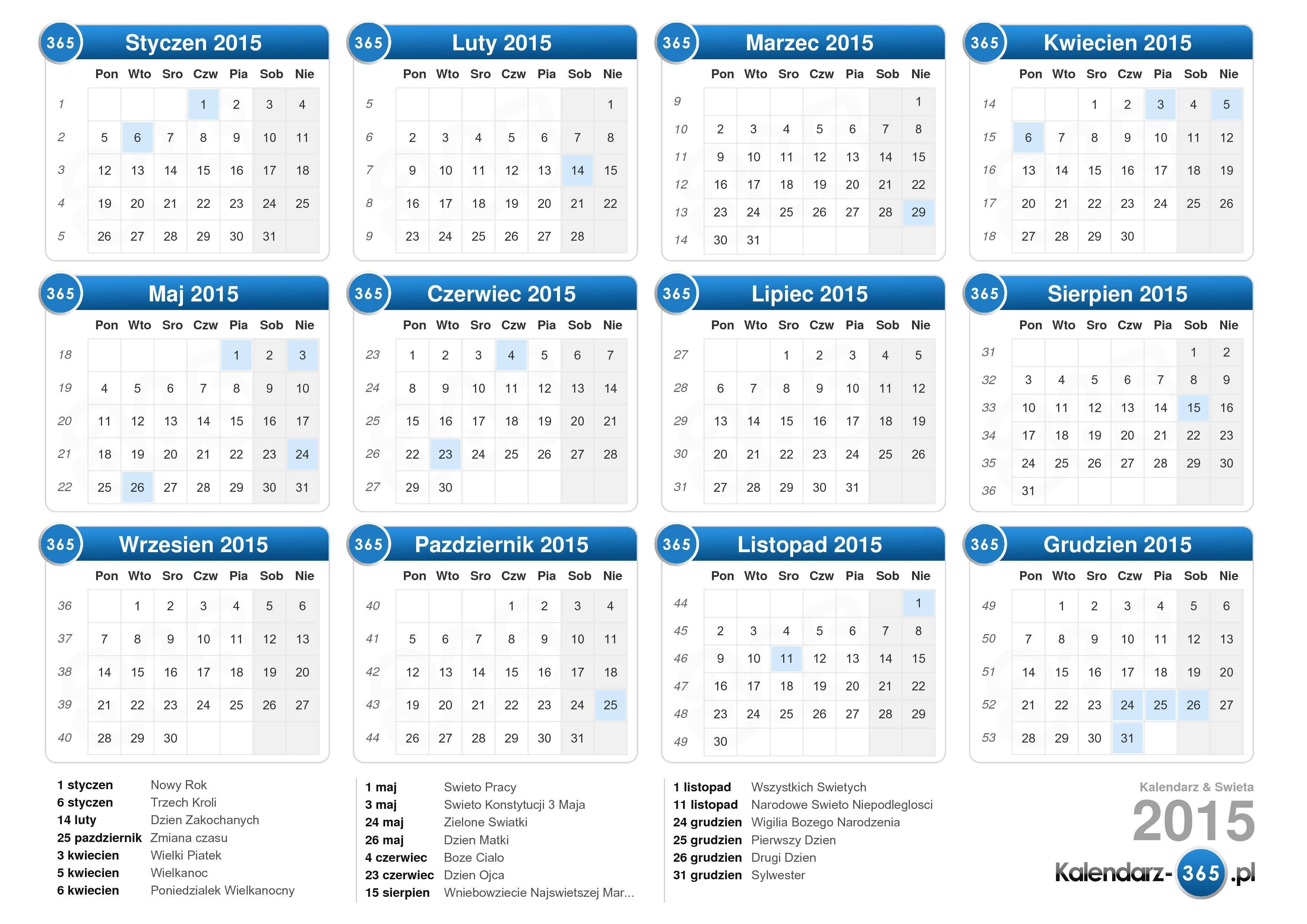 pobierz kalendarz 2015 z święta format leżący 1 strona kalendarz ...