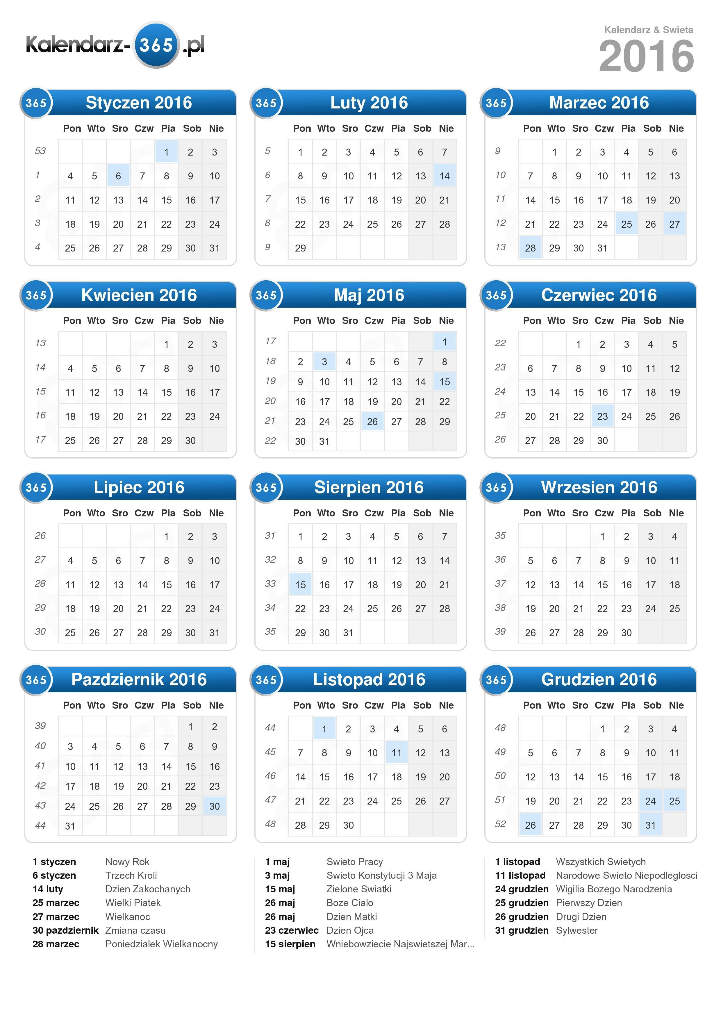 Kalendarz 2016 Exel Calendar Template 2016 Pictures to pin on ...