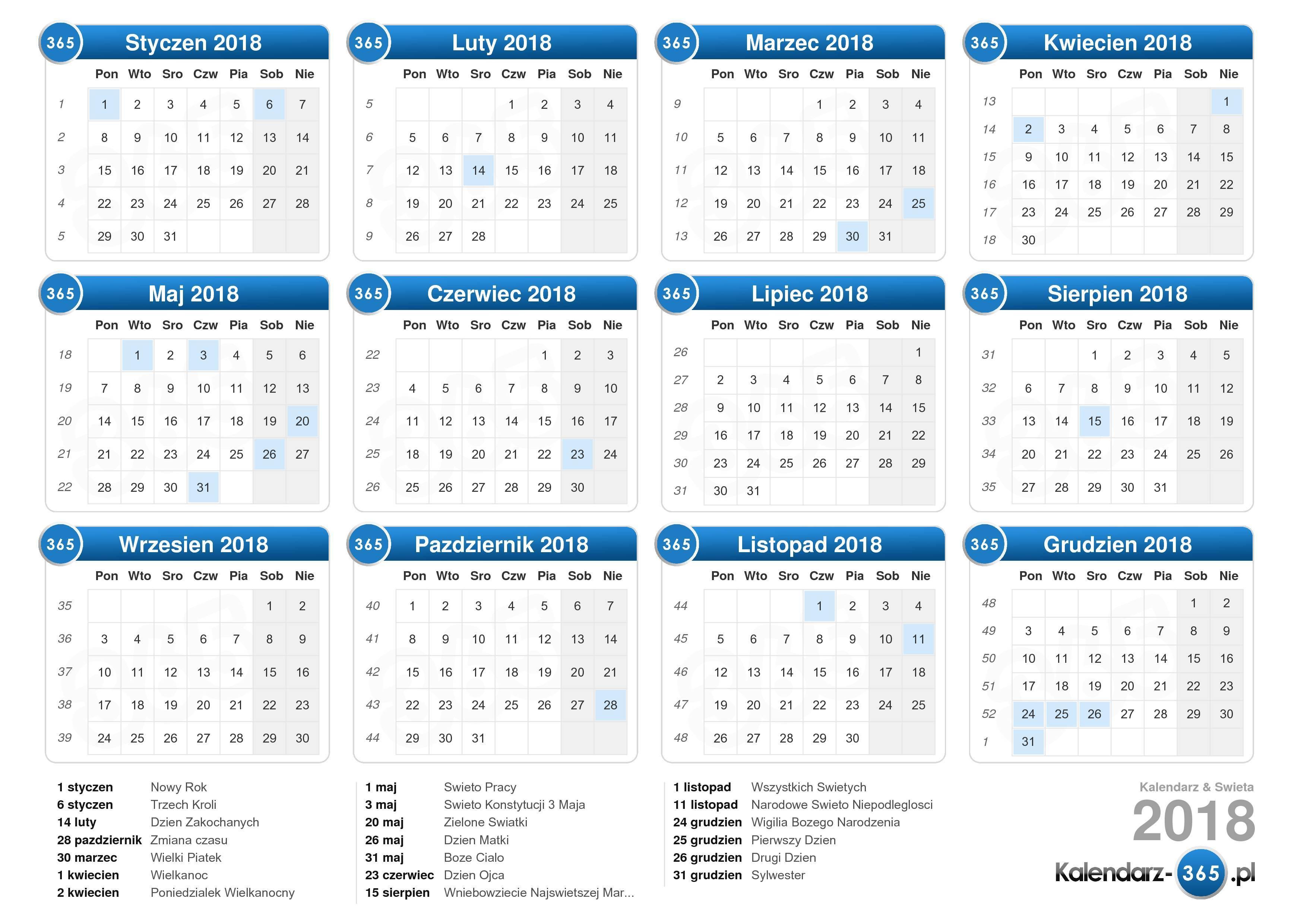 Kalendarz 2019 Numery Tygodni - calendrier