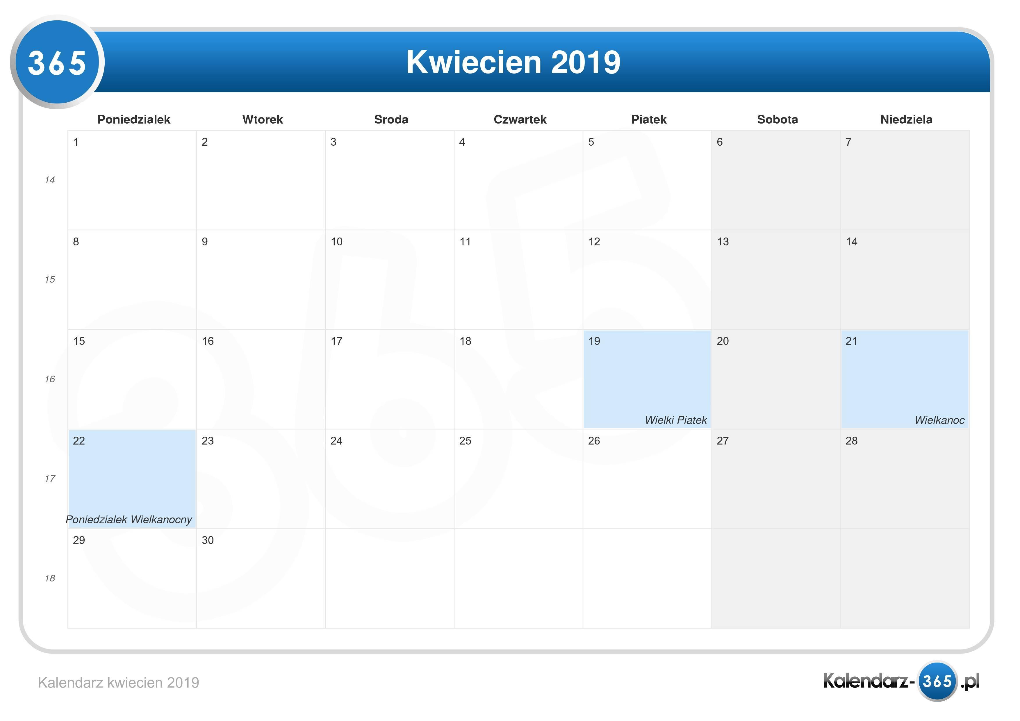 Kalendarz Kwiecień 2019
