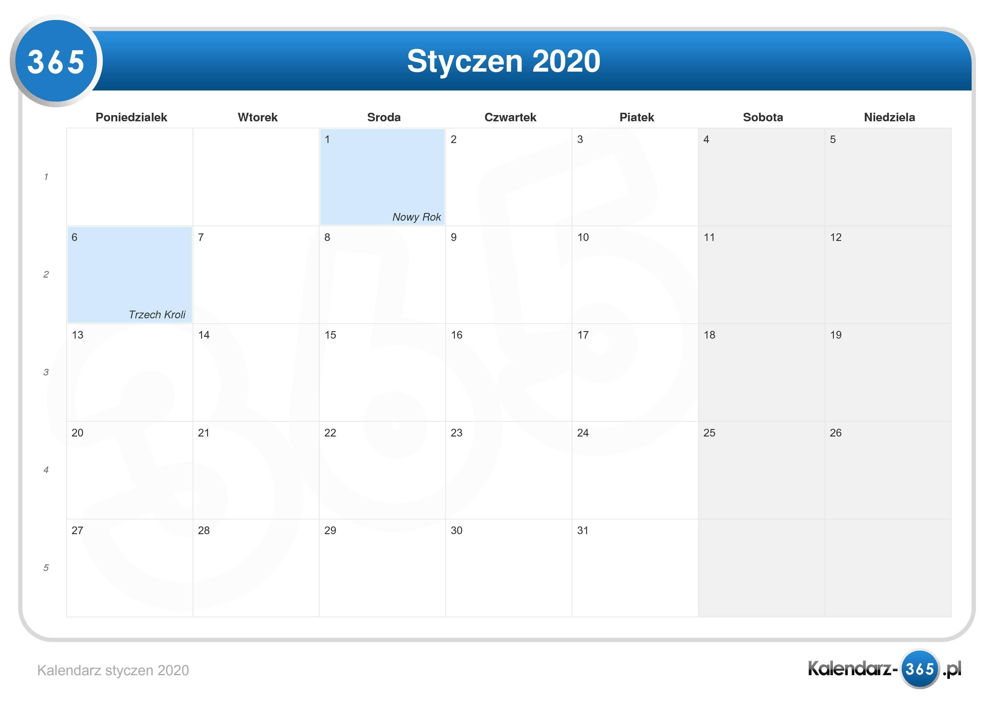 Kalendarz Styczen 2020